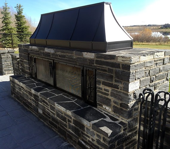 A designed fireplace for the back yard